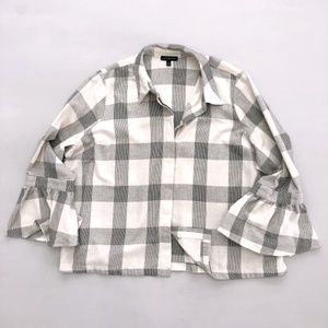 Lane Bryant Plaid Bell Sleeve Shirt 20